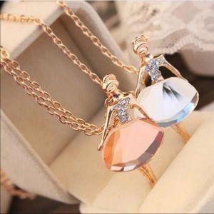 Brand New Crystal Ballerina Necklace Chocolate